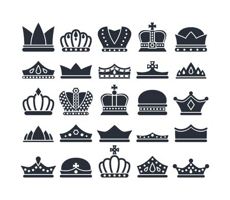 black crowns. monarch luxury royal items and symbols for kings and queens. vector silhouettes of diadem and crowns Ilustración de vector