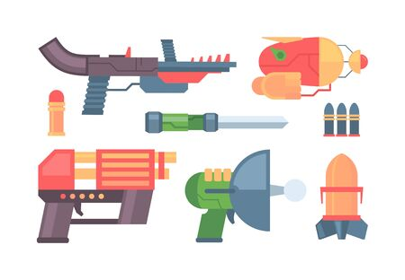 futuristic guns. toys colored funny weapons handgun and laser blasters for space battles. vector pistols collection for kids Vektorgrafik
