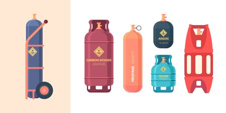 gas cylinder. high pressure steel containers bottles different forms industrial liquid gas. vector compressed air