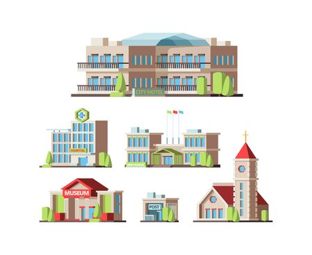 Municipal buildings. Urban houses hotel school hospital Institute post office and Church. Vector flat pictures Illustration