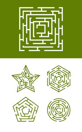 maze collection. round square and star forms of labyrinth enter exit in smart maze ways. vector template Illustration