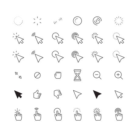 mouse cursor. web interface pointers clocks hands and arrows internet click symbols vector digital technology icons