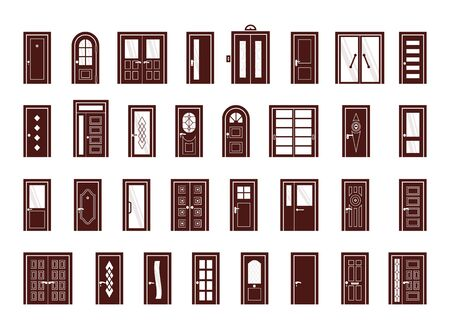 doors. interior and exterior objects doors for living room and different buildings entrance or exit gate vector symbols