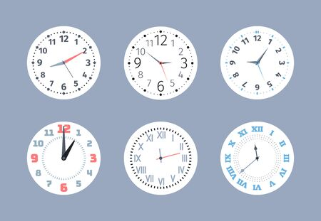 clocks. round wall watches flat collection symbols of time measurement circle display with numbers and arrows. Vector templates