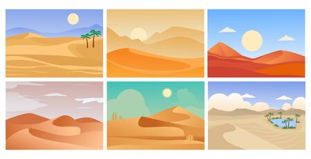 desert landscape. cartoon tropical exotic backgrounds with sand horizon and hot shining sun. vector pictures