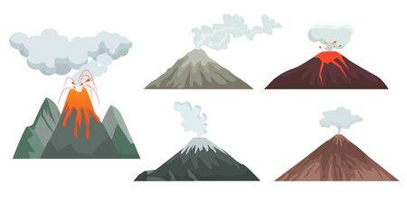 volcano. big mountains hills and rocks with nature force volcano flame magma and lava. travellers danger climbing expedition vector
