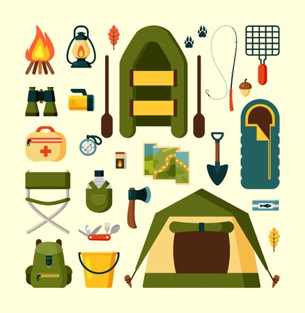 Set of equipment for camping or tourism. A collection of hiking camp equipment in khaki colour. Items for adventure, active travel, survival. Sleeping bag, compass, binoculars, tent,bonfire. Vektorgrafik