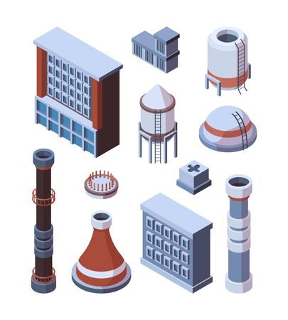 Industrial factory building set. Industrial isometric hulls with brown pipe, concrete and iron storages with ladder, powerful production hangars, perspective model construction. Vector flat graphics.