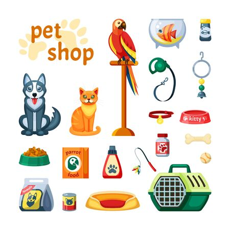 Pet set shop. Accessories for pets colored parrot, cat, dog, fish, wand with a portable container, a leash with a collar, shampoo and vitamins, a toy ball, a rubber bone, a bell. Vector graphics