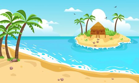 Tropical island with cottage. Yellow sandy beach with palm trees, in center an exotic islet with brown bungalows, sky with clouds and seagulls, blue ocean, bay with waves. Vector graphics flat.