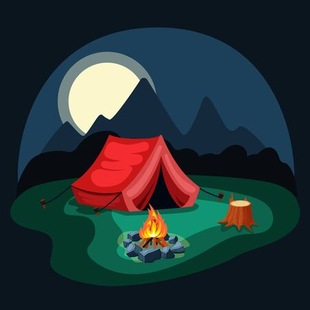 Tent at night in the camp. Red tent on green meadow with campfire, wooden stump with remains of bark, night mountains with moon, symbol of travel and tranquility. Vector graphics in flat style. Vector Illustration