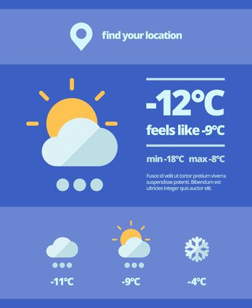 Weather web forecast. Mobile meteorology widget snowfall cooling sunny day temperature surges nature interface element for viewing climate change. Vector flat illustration.