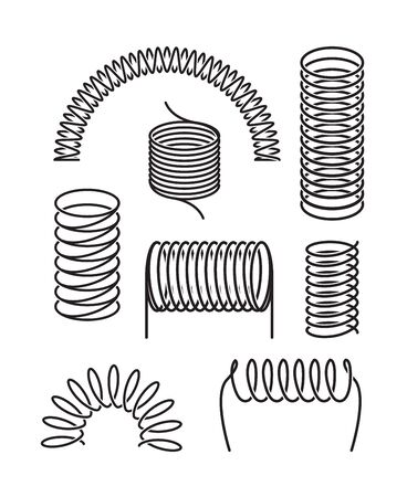 Spring metal set. Twisted spiral semicircular coil, flexible spring wire compressed under pressure rebound, elastic energy compression expansion. Vector silhouette graphics.
