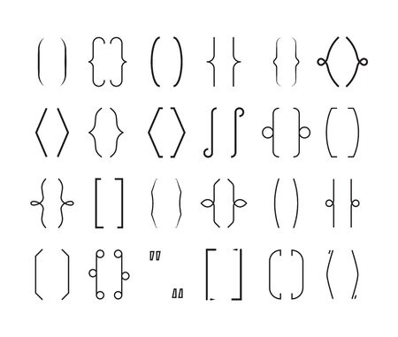 Braces frame set. Curved geometric brackets, curly decorative lines with calligraphic ornaments, elegant graphic symbol in monochrome color. Sketch style vector graphics. Vektorgrafik