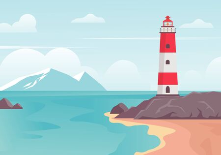 Lighthouse in bay on beach. Lighthouse tower on stone hill at edge of blue sea bay, white mountains on horizon clouds, illustration safe navigation travel. Vector color background.