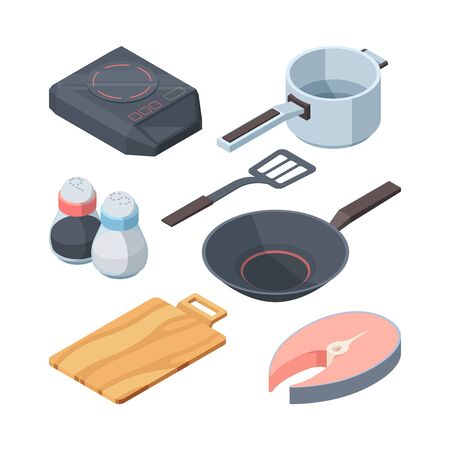Kithhen cook set. Electric stove white cooking ladle slice of red fish frying pan for frying pepper salt, wooden board stirring paddle, art cooking. Vector elements graphics.