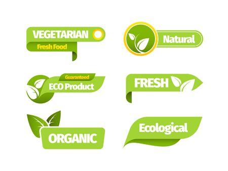Organic vegetarian banner set. Natural organic vegetarian design green leaf sticker fresh bio farm label vegan natural market restaurant healthy eco product. Vector template graphics.