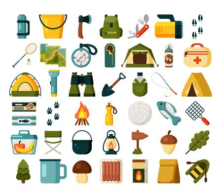 Flat design camping equipment collection.  vector royalty free stock illustration for ad, promotion, poster, flier, blog, article, social media, marketing