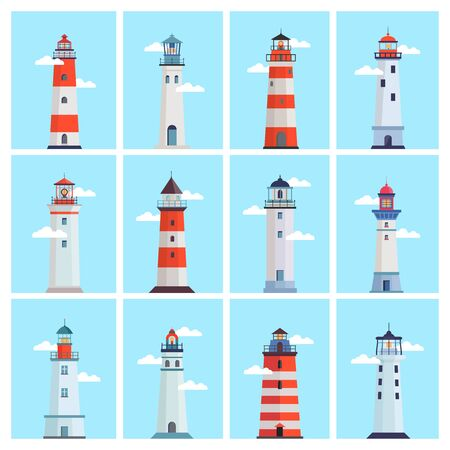 Lighthouse sea set. Tower with a spotlight on the coast for marine navigation, red with white stripes, clouds on a blue sky, a landmark of maritime security. Vector graphics in flat style.