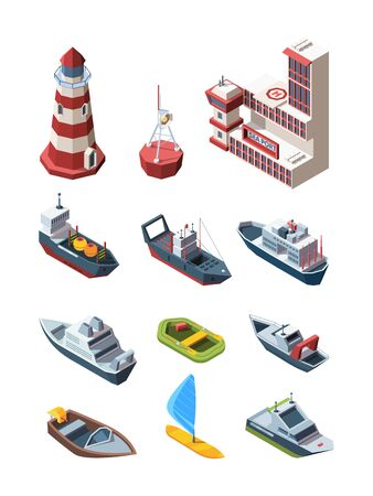 Sea port isometric transport set. Port building lighthouse buoy cargo tanker research vessel, rescue boat pleasure speed inflatable boat windsurfing with sail liner fishing boat. Isometric vector. Vectores