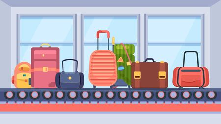 Baggage on conveyor belt. Suitcase travel bags brown pink green on transport tape in terminal, baggage claim, waiting for travel trip. Vector graphics flat style.