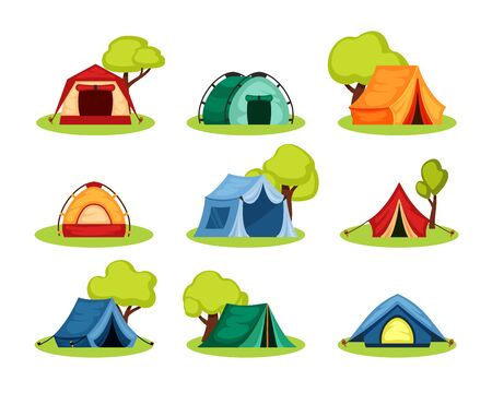 Camping tent set. Tourist tent under the shelter of tree, reinforced with rope with peg, the shape of hemisphere dome, tent, blue, green, red, symbol of open travel and relaxation. Vector flat style. Vectores