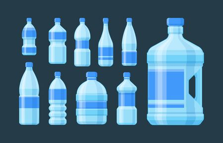 Bottle plastic set. Blue capacity bottled liquid soda cider oil convenient form blue label for sports recreation different volume any quantity cold water, fresh juice. Vector flat style. Ilustração