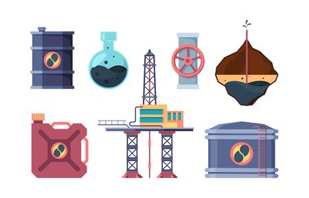 Oil industry set. Drilling well, opening valve on pipe, pumping oil off platform, studying the composition, pumping it into canister, tank, and storage. Vector graphics in flat style.