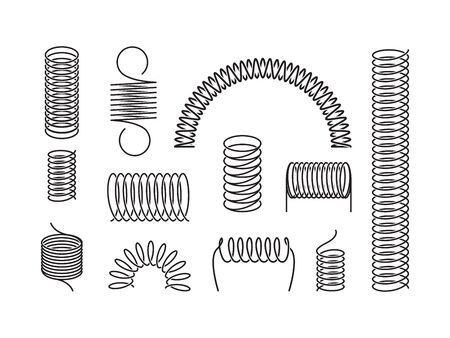 Metal spring set. A twisted spiral, elongated compressed semicircular coil holding cargo flexible spring wire compressed under pressure rebound elastic expansion energy. Silhouette vector graphics. Illustration