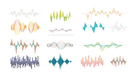 Sound line set. Musical digital track equalizer with volume amplitude, audio voice signal, electronic rhythm song effect, color curve shape, wavy sound wave melody. Vector graphics. Vectores