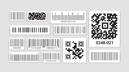 Identification code. Barcode for scanning with data scanner, qr code for smartphone, monochrome label sticker on packaging, sale of goods with retail information technology. Vector illustration.
