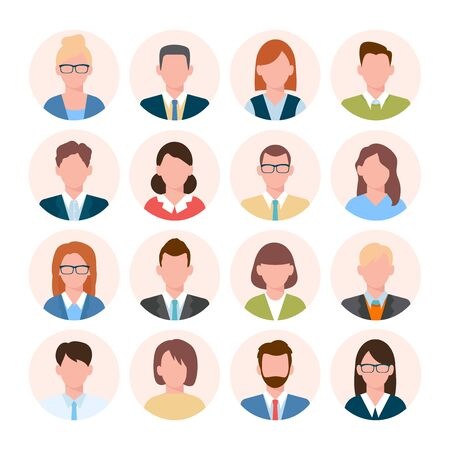 Avatars head set. Anonymous user characters student businessman teenager worker female and male portrait different hairstyles, tie, with glasses without. Vector color cartoon.