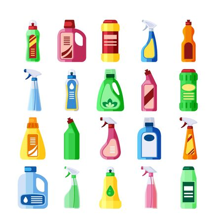 Plastic bottles with detergent set. Bottles of various shapes with soapy chemical liquid for cleaning, bleaching, washing, cleaning disinfection of houses, premises.Vector graphics in flat style.