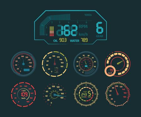 Speedometer neon set. Car speed indicator, colored neon glow on the arrow dashboard, clock, colorful oil and temperature sensor, tachometer timer modern design. Vector graphics.
