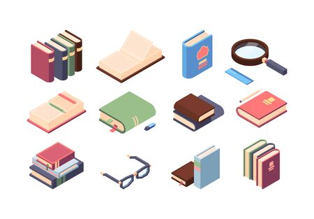 Book reading set. Encyclopedia and textbooks with accessories for easy reading in color cover, glasses, magnifier, font ruler, eraser, pencil and pen for notes, bookmarks on the page. Vector graphics. Vectores
