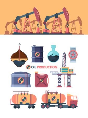 Set oil products. Drilling well, swinging with rod pump, opening valve on pipe, transporting by truck, extraction composition, pumping into canister, tank, and storage. Vector graphics in flat style.