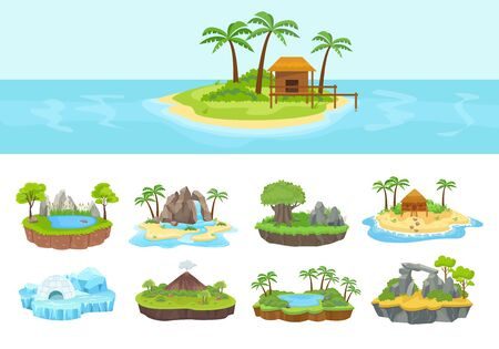 Islands set. Isometric tropical, arctic, island with green palm trees and grove, reeds, volcano, covered with ice with needle, stone buildings, waterfall and bungalows on shore. Vector graphics. Vectores