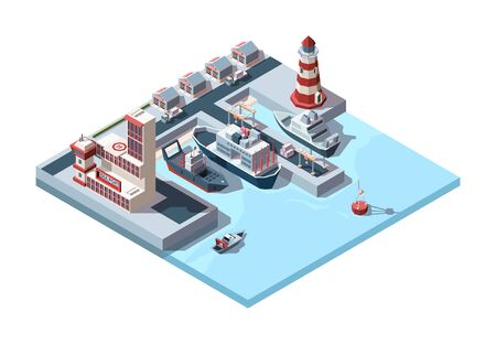 Seaport isometric industrial. Logistics illustration of international port ships in dock and terminal building, cargo storage lighthouse on pier unloading cran sea buoy. Vector illustration style.
