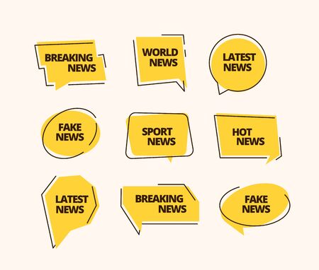 News banner set. Information label news headline sticker sports fake breaking business hot yellow, media promotion daily information. Vector template graphics.
