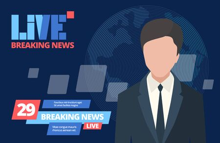 News breaking concept. Leading newsreader news program, daily live tv broadcast entertainment reportage coverage global events, professional interview reporter from the scene. Cartoon vector graphics.
