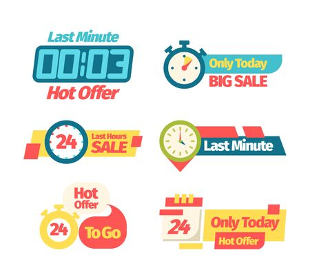 Sale discount offer set. Banner discount last minute only today sale last hour best price throughout the day color web coupon presentation, promotion of advertising shopping. Vector flat banners.