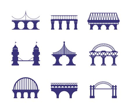 Bridge architecture. Urban silhouette arch cable-stayed road bridge construction segments pillars adjustable supports cable suspension architecture metal and stone construction. Vector silhouettes.