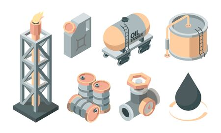 Oil isometric production set. Derrick with fire storage tank canister transportation fuel valve oil tanker storage tank raw materials black drop symbol industrial processing. Isometric style vector.