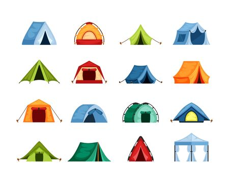 Camping set tent . Tourist tent with a canopy, reinforced with a rope with a peg, the shape of a nylon dome hemisphere, tent, blue, green, red, a symbol of open travel. Vector graphics in flat style.