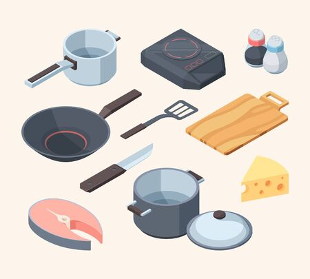 Cook kithhen set. Frying pan electric stove white cooking ladle pan lid yellow cheese red fish chunk knife pepper salt spatula wooden board stirring paddle art cooking menu. Elements vector graphic. Vectores