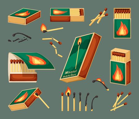 Match flammable set. An open matchbox full of boxes, close-up with a fire icon, a burning sulfuric match with fire, burned, turned into ashes, broken, ignited. Vector graphics.