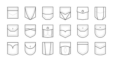 Pocket patch set. Pockets for fashion design shirt, dress, denim, round, oval, rectangular shapes, monochrome color collection with linear stitches. Vector graphics in sketch style.