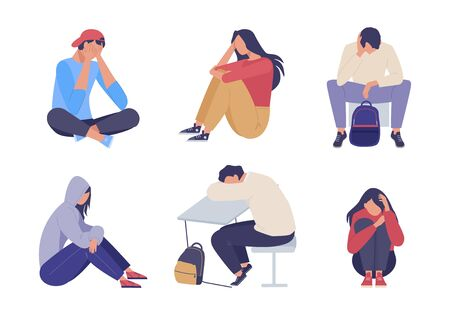 Sad depressed people. Unhappy young girl guy sitting sadness and despair, expression loneliness pain problems concern for future tired problems. Vector color clipart.