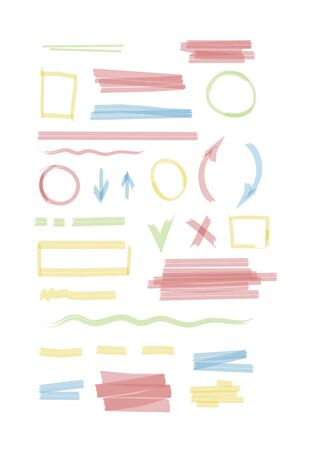 Markers set. The wavy and round colored lines highlighter thin and thick.