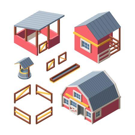 Farm isometric buildings set. Warehouse storing grain hay drinking bowl animals barn wooden fence retro well chicken coop. Organic vector farm.  イラスト・ベクター素材